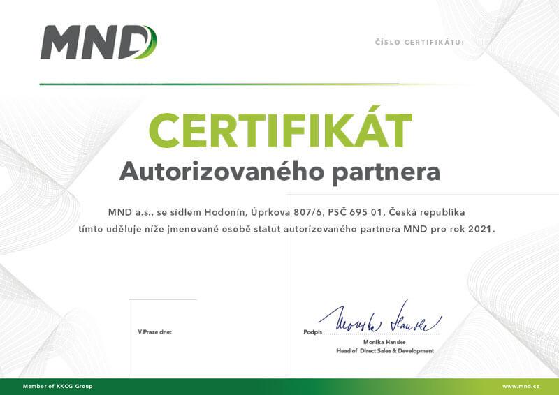 Certifikát autorizovaného partnera MND